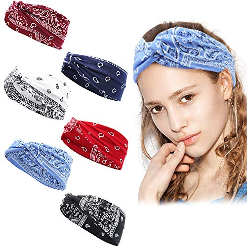 6 Stücke Stirnband Damen - Paisley Haartuch Kopftuch für Frauen, Elastisches Baumwolle Bandana Breiter Haarband, Yoga Bandanas Stirnband Turban Headwrap ideal für Sport/Yoga/Laufen