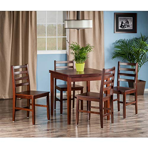 Wood & Style Premium Décor 5-PC Set Extension Table with Ladder Back Chairs