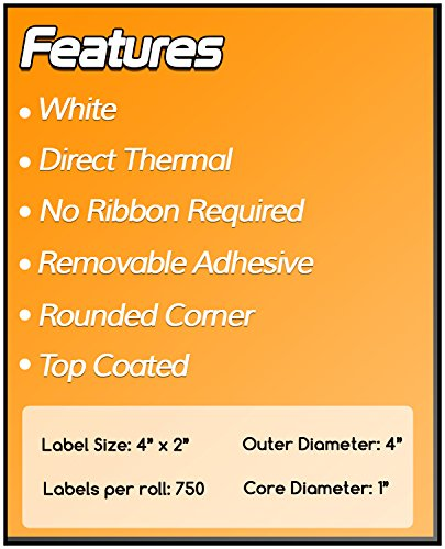 OfficeSmart Labels ZR1400200-4 x 2 Inch Removable Direct Thermal Labels, Compatible with Zebra Printers (4 Rolls, White, 750 Labels Per Roll, 1 inch Core) Photo #5
