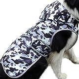 JoyDaog Sudadera de forro polar para perros medianos, cálida chaqueta de cachorro, para invierno, impermeable, abrigos con capucha, camuflaje blanco M