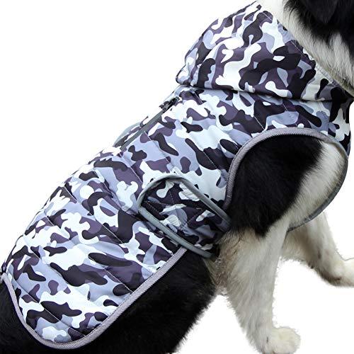 JoyDaog Sudadera de forro polar para perros medianos, cálida chaqueta de cachorro para invierno frío, abrigos de perro impermeables con capucha, camuflaje blanco M
