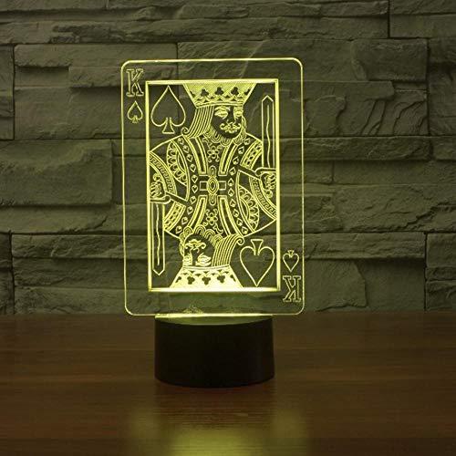 ZYQZYQ 3D Lampe Illusion Nuit 7 couleurs changeantes LED poker roi table atmosphère de chambre décoration décor accessoires enfants cadeaux