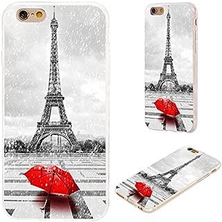 VoMoTec iPhone 6s Plus Case,iPhone 6 Plus Case, [Original Series] Anti-Scratch Slim Flexible Soft TPU Protective Shell Cover Case iPhone 6 6s Plus 5.5,Paris Eiffel Tower in rain red Umbrella