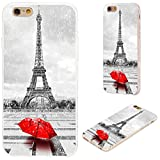 iPhone 6s Case,iPhone 6 Case,VoMotec [Original Series] Shockproof Anti-Scratch Slim Flexible Soft TPU Protective Skin Cover Case for iPhone 6 6s 4.7 inch,Paris Eiffel Tower in rain with red Umbrella