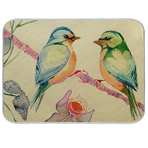 Tapis de séchage à vaisselle Microfibre de comptoirs de cuisine Protecteur de coussin sec 16 x 18 pouces Two Birds