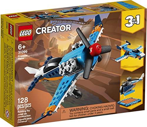 LEGO 31099 Creator 3-in-1 Propellerflugzeug, Düsenflieger oder Hubschrauber, Spielzeug für Kinder ab 7 Jahren