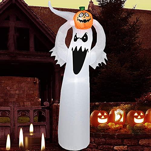 Bambola gonfiabile alta per Halloween, con zucca, giardino, giardino, giardino, giardino, giardino, decorazione con zucca, decorazione a LED, decorazione per giardino, decorazione