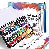 WOSTOO Aquarellfarben Set 64 Stück Aquarell Malkasten 48 Farben+3 Hookline Stifte+2 Wassertankpinsel+10 Aquarellpapier+1 Kontrollfarbkarte-Aquarell Farben Set Malkasten für Anfänger und Profis