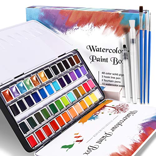 WOSTOO Set Pittura ad Acquerello-64 PCS-Acquerello Set di 48 Colori ad Acquerello Portatile Set Acquerelli-3 Pennini a Gancio+2 Pennelli per Serbatoio d'Acqua+10 Carte per acquerelli