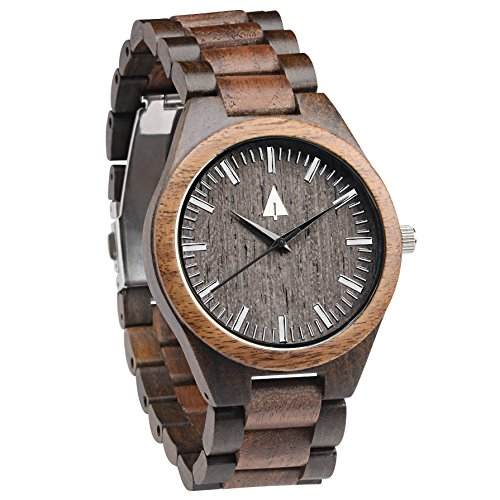 Treehut Men's Walnut and Ebony Wooden Watch with All Wood Strap Quartz Analog.