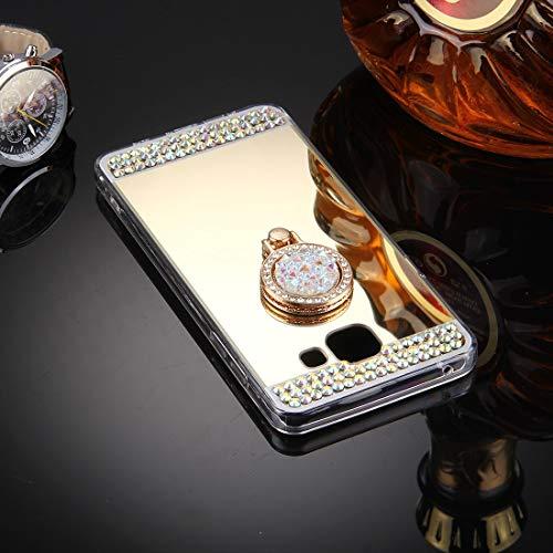 Bueno for Galaxy A3 (2016) / A310 Estuche de cubierta protectora de espejo de galvanoplastia con incrustaciones de diamantes con soporte de anillo oculto (dorado) Shiningxie (Color : Gold)