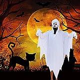 Prasacco Disfraz de fantasma alegre para Halloween, disfraz de Halloween, color blanco con capucha, capa larga con capucha para disfraz de Halloween, cosplay