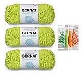 Bernat Handicrafter Cotton Solids Yarn, 1.75 oz, Gauge 4 Medium, 100% Cotton, Hot Green 3-Pack Bundle with Dishcloth Color Pattern