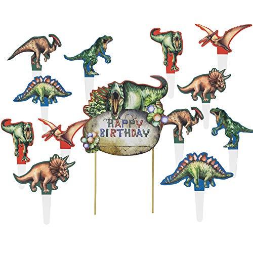 SUNBEAUTY 13 Dinosaurier Tortendeko Dino Cupcake Toppers Kinder Geburtstag Party Kuchen Deko