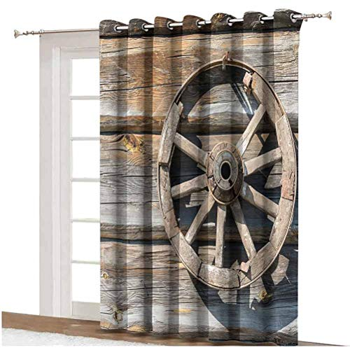Barn Wood Wagon Wheel Sliding Door Curtain Old Log Wall with Cartwheel Telega Rural Countryside Themed Image Decorative Thermal Backing Sliding Glass Door Drape ,Single Panel 80x84 inch,for Patio Door