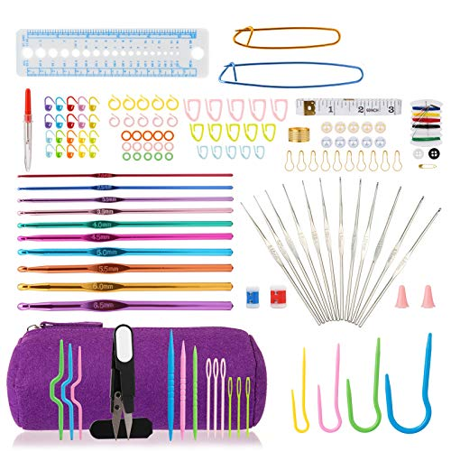LIHAO 140 Piezas Kit de Ganchillos Crochet Ganchillos Aluminio con Accesorios, Bolsa Portable (Púrpura)