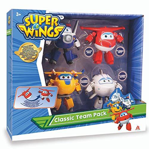 Super Wings Transforming-Set x4 verwandelbare Roboterfiguren der Animationsserie Kinderspielzeug ab 3 Jahren-12 cm, EU730206