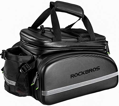 beiyoule 8L Bicycle Rack Rear Carrier Bag,Bike Trunk Bag PU Leather with Rain Cover Pannier Cargo,Easy to Install