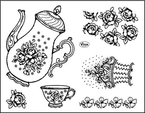 Viva Decor®️ Clear-Stamps (Kaffeekanne) Silikon Stempel - Prägung Stempel - DIY Dekoration stanzen - Stempel Silikon - DIY Stamp - Stempel Prägung - Made in Germany