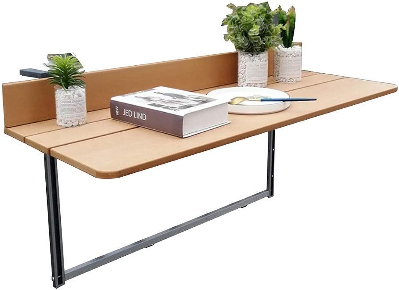 TINGTING Side Table desk End Bedside Folding Balcony Railing Cabinet Door Hanging Table Laptop Table Study Desk Height Adjustable Assembly (color   Wood, Size   60)