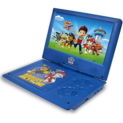 Ematic Nickelodeons Paw Patrol Theme Portable DVD Player with 9-Inch Swivel Screen, Travel Bag and 2 Sets of Headphones, Blue