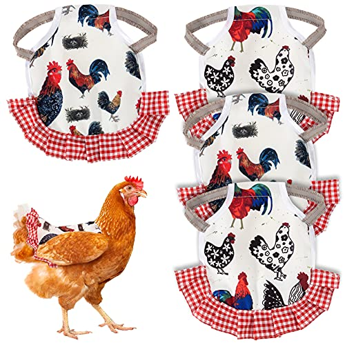 4 Pieces Chicken Saddle Hen Apron Jacket with Straps Anti-pecking Poultry Feather Wing Back Apron Protector for Medium Large Rooster Hen Chicken