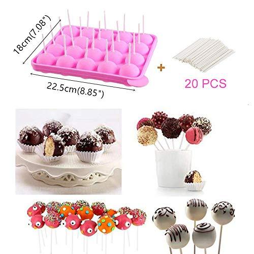 21 Piezas Bandeja Cake Stick Mould, Molde Silicona Sin BPA para Hacer Chocolate, Herramientas para Hornear (Rosa)