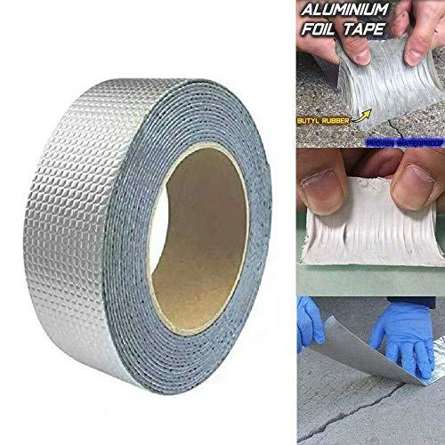 ZHXY Butylkautschuk Aluminiumfolienband,Super wasserdichtes Band Gummi Aluminiumfolienband,Gummidach Blinkband für Wandrohr Kamin Dachboot Reparatur (5 cm * 10 m)