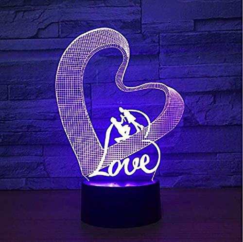 3D Night Lamp Love Heart Led Table Lamp Lamp Romantic Party Atmosphere Lamp for Wedding Decoration Birthday and Holidayfor Children