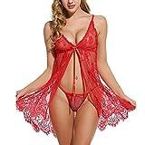 U/A Spitze Nachthemd Frauen Nachtwäsche Pyjama Babydoll Sexy Bademantel Weibliche Hauskleidung Rot