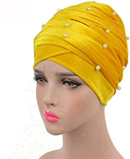 Fashian Lady Beanie Velvet Muslim Turban Pleated Head Wrap Scarf Long Tail Hat Pre Tied Headwear Cancer Chemo Cap WJ-01 (Color : 8, Size : 170 * 26CM)