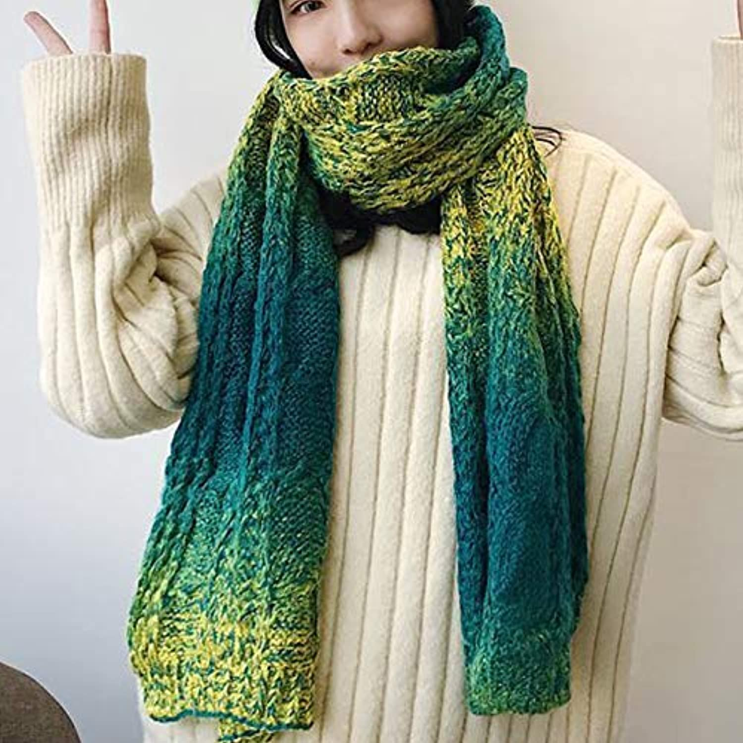 Scarf for Gift Winter Solid color Knitted Wool Scarf Thick Warm Shawl Dualuse Female Students Long Black Wild (color   Red) Classic Scarf (color   Green)