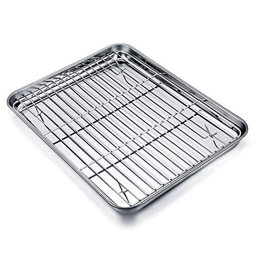 TEAMFAR Backblech mit Abkühlgitter, Edelstahl Klein Backform Mini-Ofenschale und kuchengitter auskühlgitter, 26x20x2.5cm, gesund & ungiftig, leicht zu reinigen und spülmaschinenfest