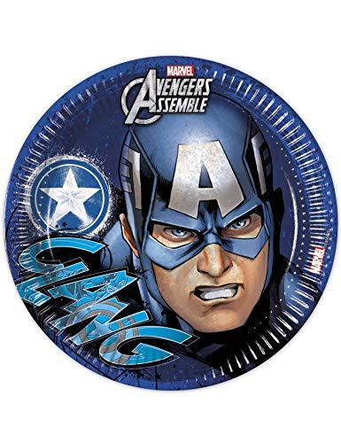 Marvel 23 cm Les Assiettes, Lot de 8 avec Captain America Avengers Assemble
