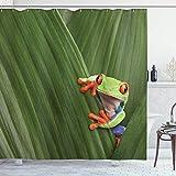 qulia 60X72inch Cortina de Ducha Animal Eyed Tree Frog Escondido en una Hoja exótica Macro en Costa Rica Selva Tropical Naturaleza Tropical Tela Tela Baño Decoración Set con Ganchos
