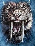 Pintura Por Nmero Kits Rugiente Tigre Dientes De Sable Nios Manualidades Pintura Al leo Sobre Lienzo Regalo Para Pintar Decoracin Para El Hogar.40X50Cm(Sin Marco)