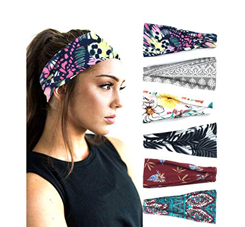 PLOVZ 6 Pack Women's Yoga Running Headbands Sports Workout Hair Bands (Set 9)