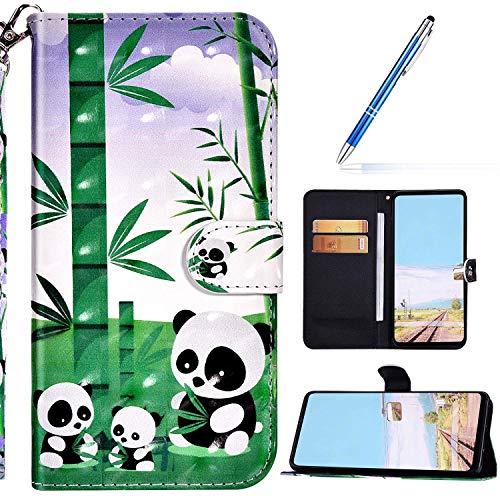 URFEDA Kompatibel mit Samsung Galaxy M31S Handyhülle Handytasche Leder Flip Case Brieftasche,Glitzer 3D Bunt Gemalt Muster Schutzhülle Magnetisch Kartenfach Ständer Klapphülle Lederhülle, Panda