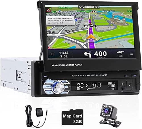 Radio de Coche 1 DIN GPS Navegación, Hikity 7 Pulgadas Pantalla Táctil Autoradio Bluetooth con FM Enlace Espej Mandos Volantes Puerto TF/Puerto USB/Entrada AUX + Cámara Visión Trasera