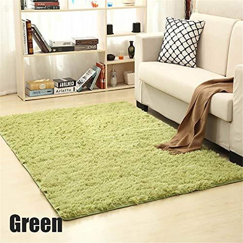 LABAICAi - Alfombra suave para sala de estar, hogar europeo, cálida, felpa, alfombra de pelo sintético, color verde, tamaño: 80 x 120 cm