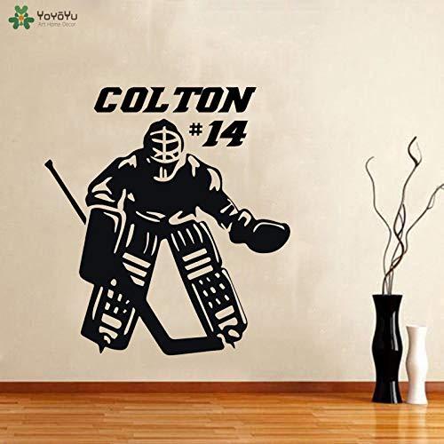 Fotobehang hockey keeper muursticker gepersonaliseerde jongen naam muurschildering voor vinyl kunst in tienerkamer speelkamer 85x93cm