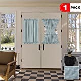 H.VERSAILTEX Premium Faux Linen Semi Sheer French Door Curtains, Rod Pocket, 1 Panel 52 -Inch by 40 - Inch - Teal - Single Panel