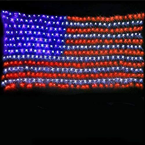 3,2 Fuß x 6,5 Fuß amerikanische Flagge Lichter, mit 390 Super Bright LEDs Flagge, im Freien wasserdicht hängende USA Flagge Netz Lichterkette, für Party, Weihnachtsdekoration