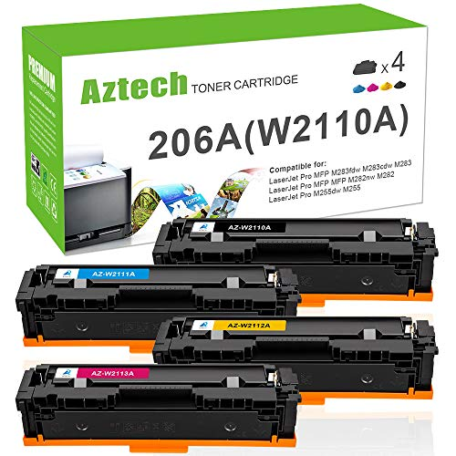 Aztech Compatible Toner Cartridge Replacement for HP 206A 206X W2110A W2110X for M255DW Toner HP Color Laserjet Pro M255DW MFP M283FDW M283CDW M283 M255 (Black Cyan Yellow Magenta, 4-Pack)