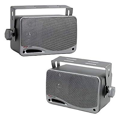 """3-Way Waterproof Marine Box Speakers - 3.5"""" 200 Watt Dual Indoor Outdoor Speaker System - Weatherproof/Waterproof Outdoor Speaker - Home, Boat, Pool, Patio Indoor Outdoor Use - Pyle PLMR24S (Silver) by Pyle"""