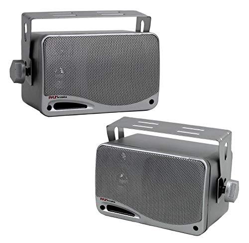 Pyle Wasserdichte Lautsprecher 3.5-Zoll-200-Watt 3-Way Wetterfeste Mini Box, Silber, PLMR24S