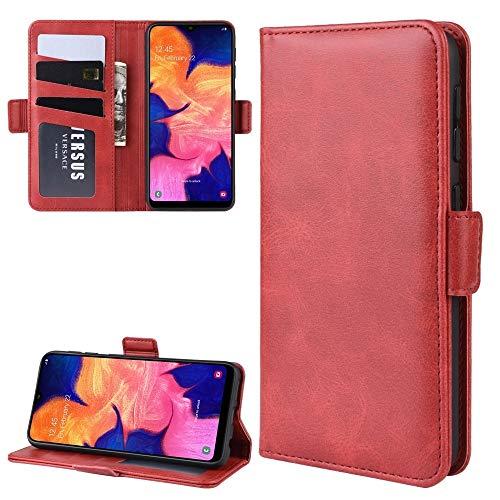 La selección de Cici For Galaxy A10E Doble Hebilla Caballo Loco de Negocios del teléfono móvil de la pistolera con Tarjeta de la función del Soporte Wallet (Negro) (Color : Red)