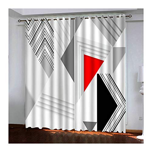 Daesar Tende Soggiorno Moderne 2 Pezzi Tende Finestra Interni Motivo Geometrico 3D Tende Soggiorno Grigio Rosso Nero 214x244CM Tende in Poliestere