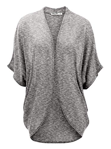 LL WSK1528 Womens Short Sleeve Open-Front Batwing Cardigan - Made in USA L White_Black