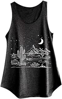 AOJIAN Women's T Shirt Sleeveless Shirts Desert Moon Night Printed Tunic Blouse Tanks Vest Tops